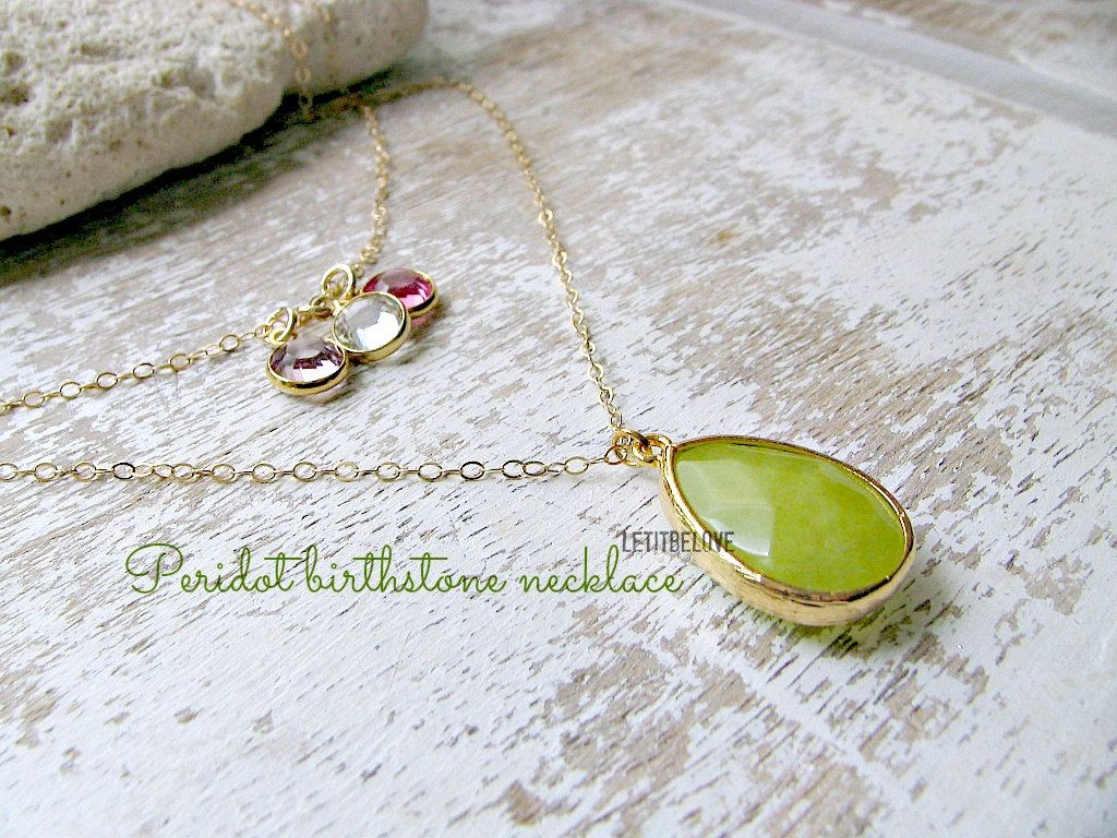 Layered Peridot Necklace,14k Birthstone Necklace,layered Necklace,Peridot,Personalized Jewelry,Family Necklace,Mothers Gift,Bridesmaid by LetItBeLove on Etsy
