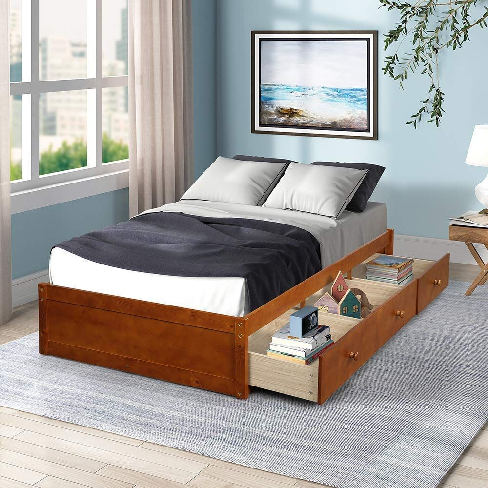 DKLGG Twin Size Platform Bed Twin Daybed Wood Bed with 3