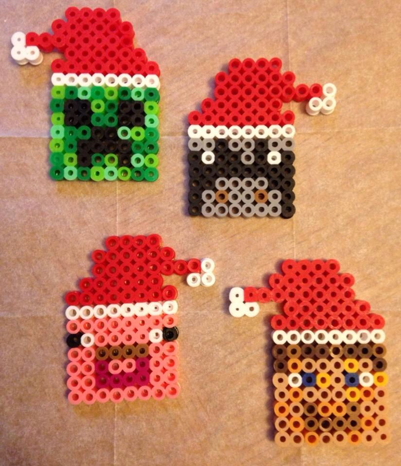 Perler Bead Patterns Christmas.Minecraft Perler Bead Christmas Ornaments Pinned There