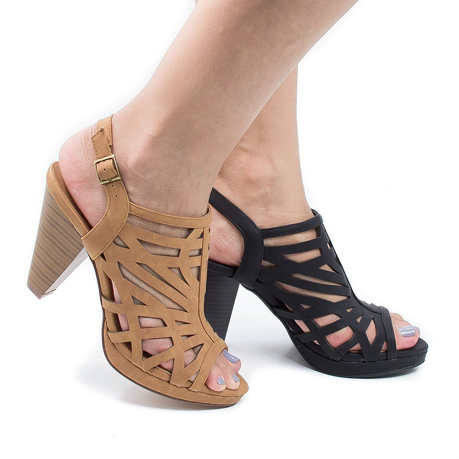 Geometric Cut Out Sling Back Chunky Stacked Heeled Sandals