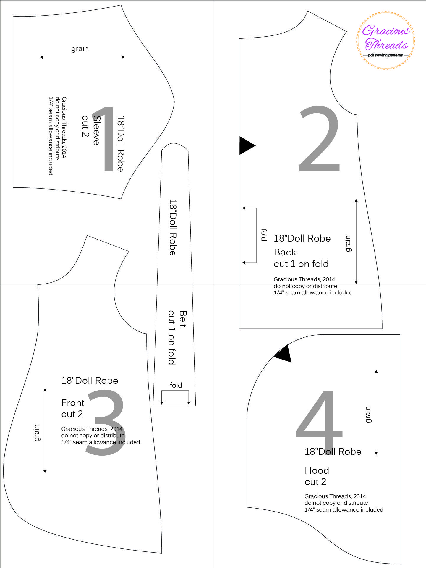 18″ Doll Robe free pattern | American girl doll patterns | Pinterest ...