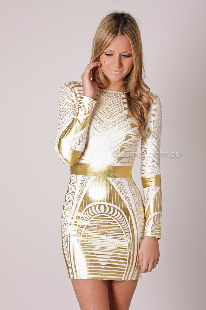 Esther Boutique Golden Night Long Sleeve Tail White Gold Love This Dress