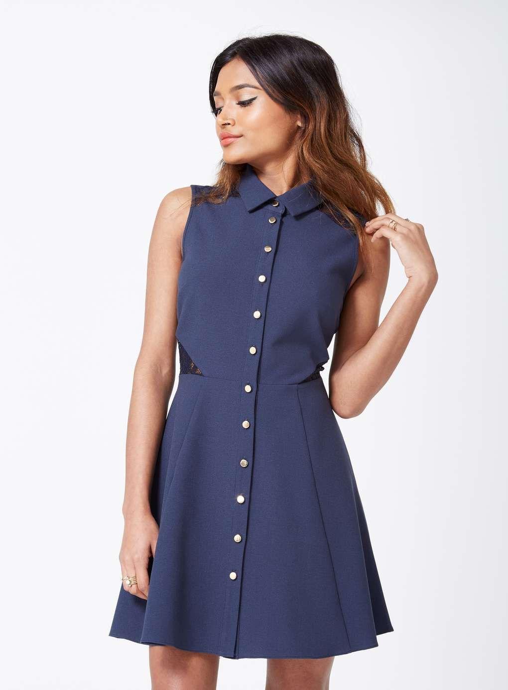 Lace dress navy  PETITE Navy Lace Shirt Dress  View All  Petites  Dresses