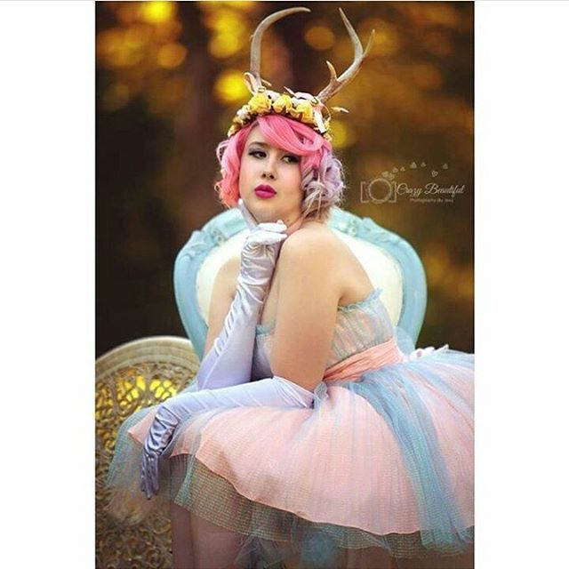 Here is the first of many pictures from my birthday photoshoot! Antler crown by @kellyeden dress is @xobetseyjohnson and hair color is by @overtonecolor photography is by @crazybeautifulphotosbyjess  #antlercrown #kellyeden #betseyjohnson #alternativemodel #overtone #pastel #pinkhair #fairy #forestnymph #deer #betseybabe #princess #