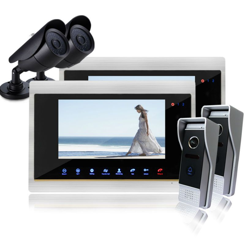 Homefong  7 Inch Night Vision  Color Video Door Phone Intercom Doorbell Doorphone System Access Control Camera Door Phone 2v2V2