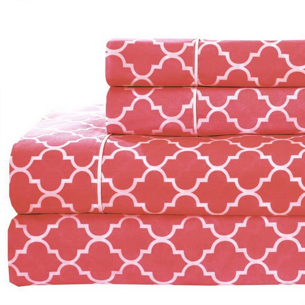 Printed 100 Percale Combed Cotton Quatrefoil Sheet Set