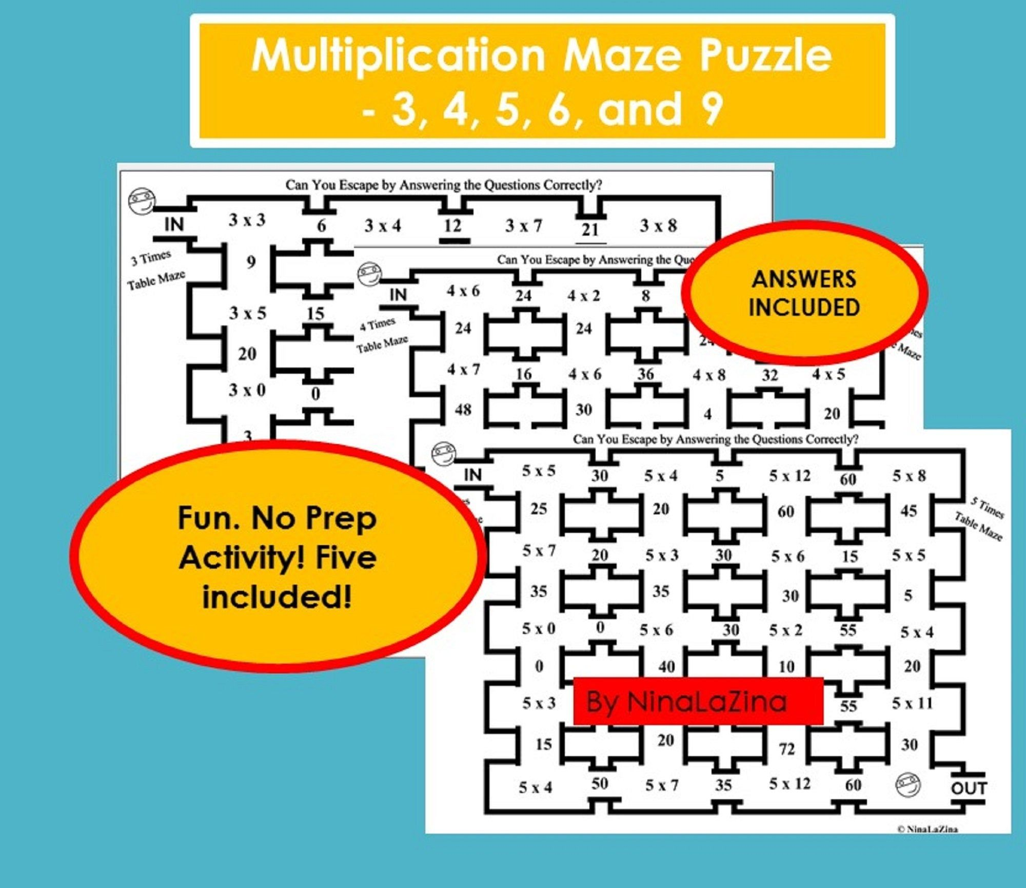 Multiplication Printable Maths Maze Puzzles For Kids Game