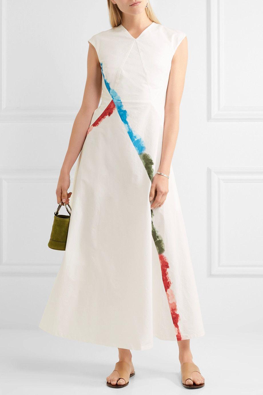 Tomas Maier Woman Cutout Printed Stretch-cotton Maxi Dress White Size 6 Tomas Maier ezMSIQn3u