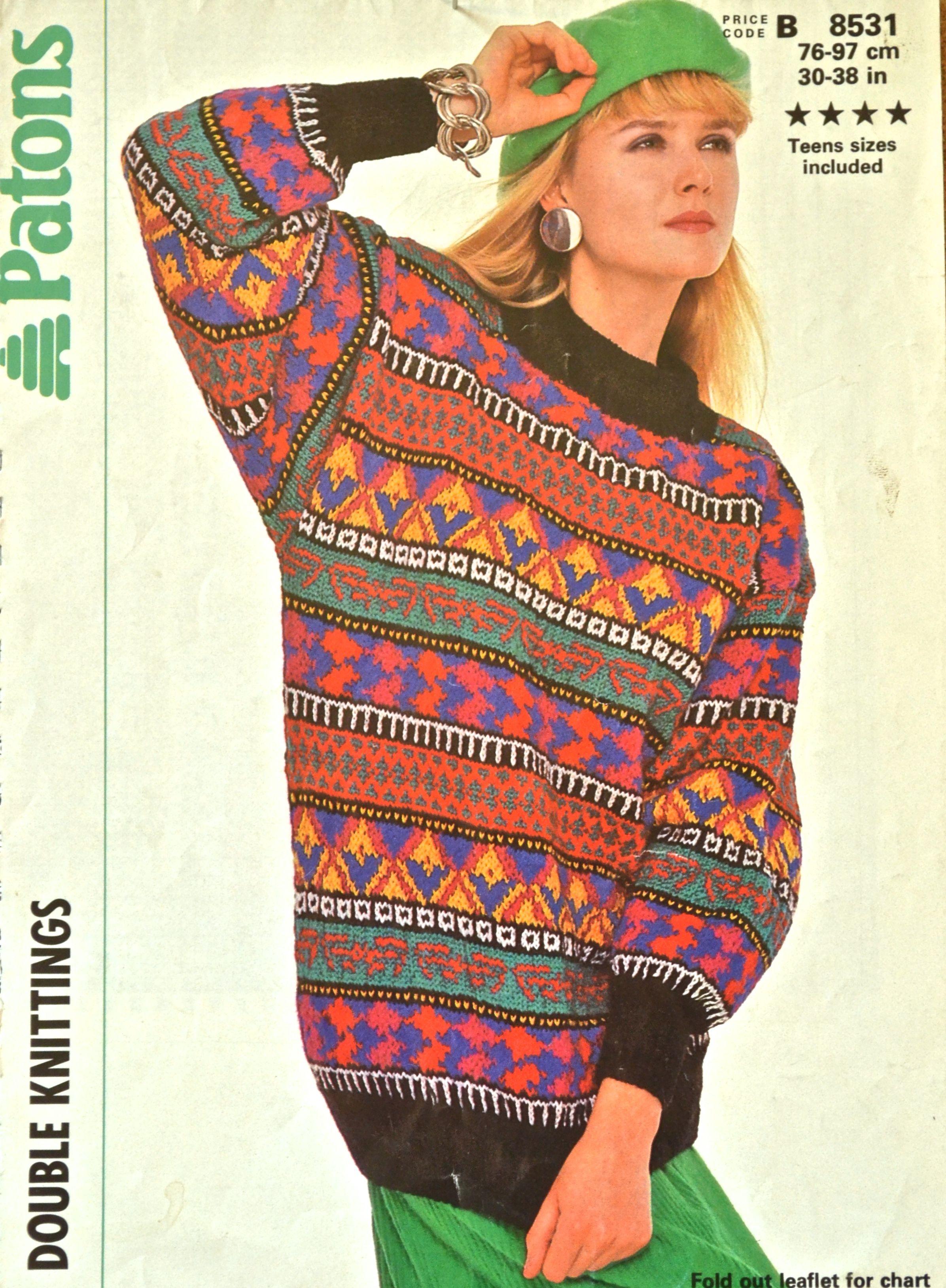 Vintage 80s Knitting Patterns | Jumper knitting pattern ...