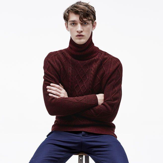 pas cher pour réduction site professionnel haut fonctionnaire Pull col roulé Aran en laine torsadée deux tons   Sweaters ...