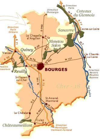 Carte Bourgogne Blanc.Carte Vins Blanc Centre Loire Bourgogne France Fransk Kort