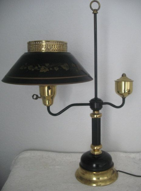 Vintage Tole Lamp Black And Gold Lamp Desk Lamp Metal Shade