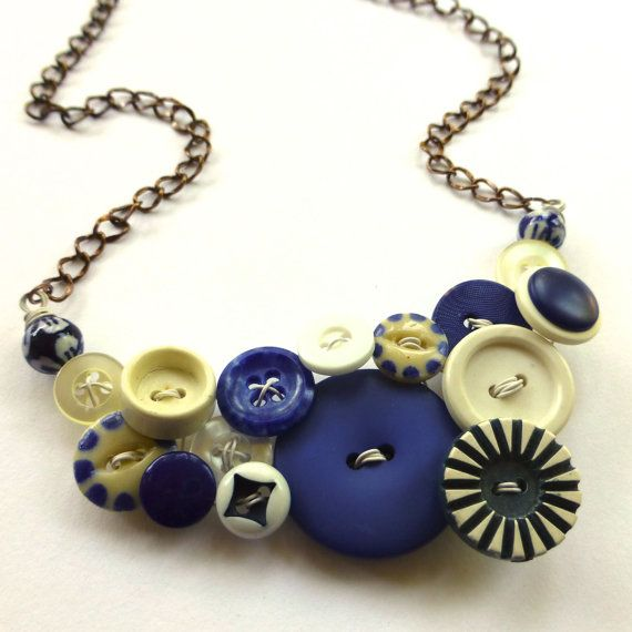 Royal Blue and White Vintage Button Chunky by buttonsoupjewelry