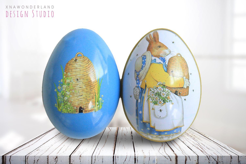 Easter Spring Vintage Decorative Tin Eggs Bunny Decor Easter