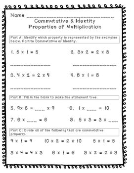 Commutative Amp Identity Property Activity Sheet And Sort Check Your Students Knowledge Of These Concepts By Using These In 2021 Commutative Classroom Info Identity Identity property of addition worksheets