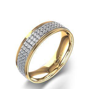 a925f97ca985 Alianza de Boda para Hombre Tallada de Diseño Circular en Dos Tonos de Oro