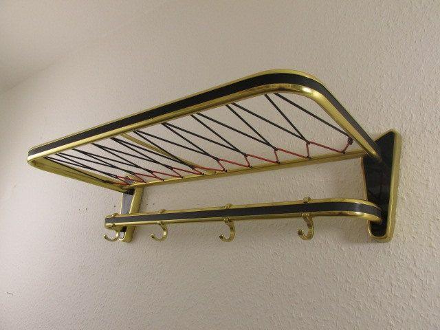 mid century coat rack vintage wall hooks german furniture gold black red 50s 60s. Black Bedroom Furniture Sets. Home Design Ideas