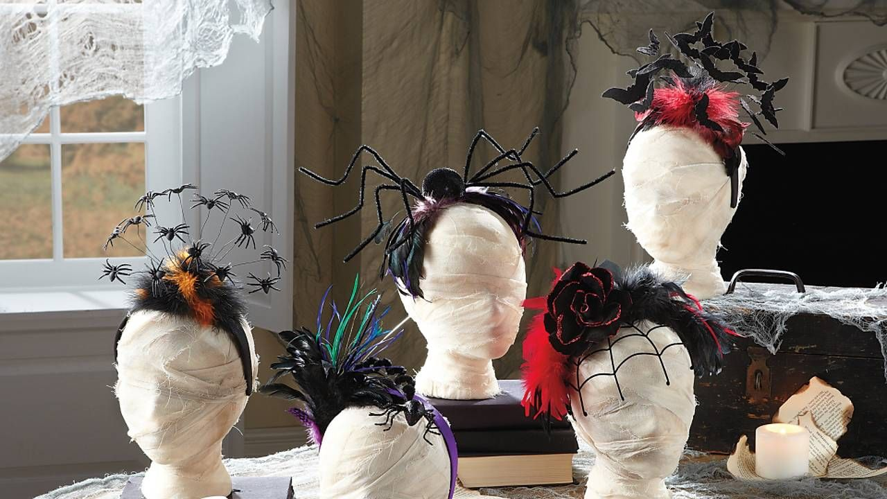 Feather with Hanging Spider Halloween Headband