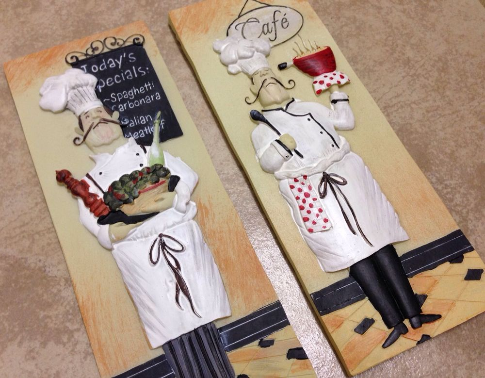 NEW 2pc 3D Fat French Chef Italian Bistro Tuscan WALL PLAQUE Kitchen Decor  Home #FrenchCountry