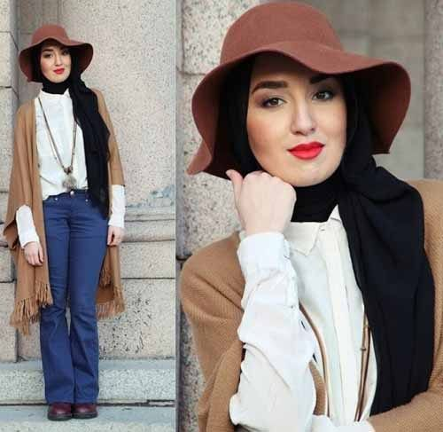 9e232950859 How to wear floppy hat with hijab-How to wear chic hijab in cold winter  days – Just Trendy Girls