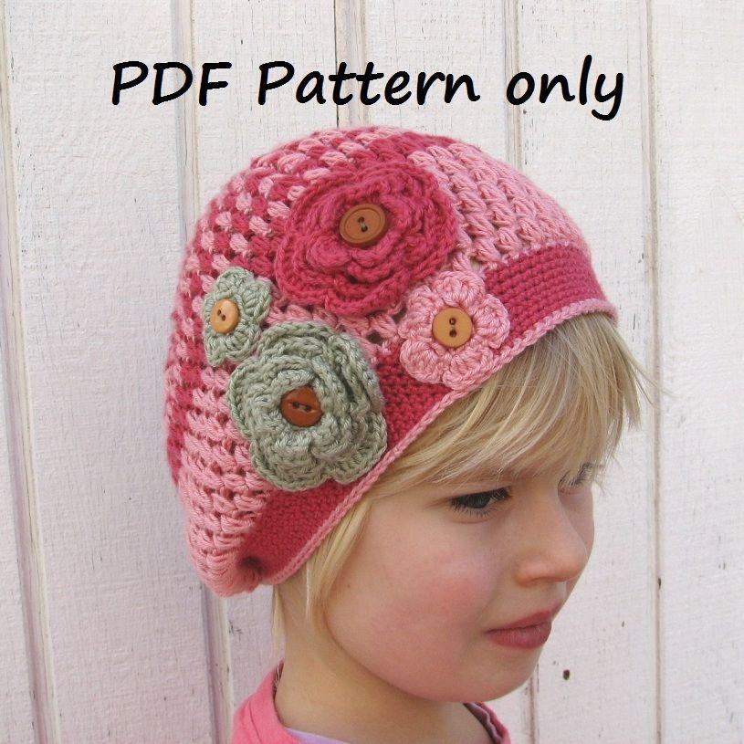 Crochet Pattern - Slouchy Spring Girls Hat, Crochet | Crochet - Hats ...