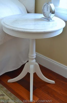 Carrara marble bedside table make-over, tutorial