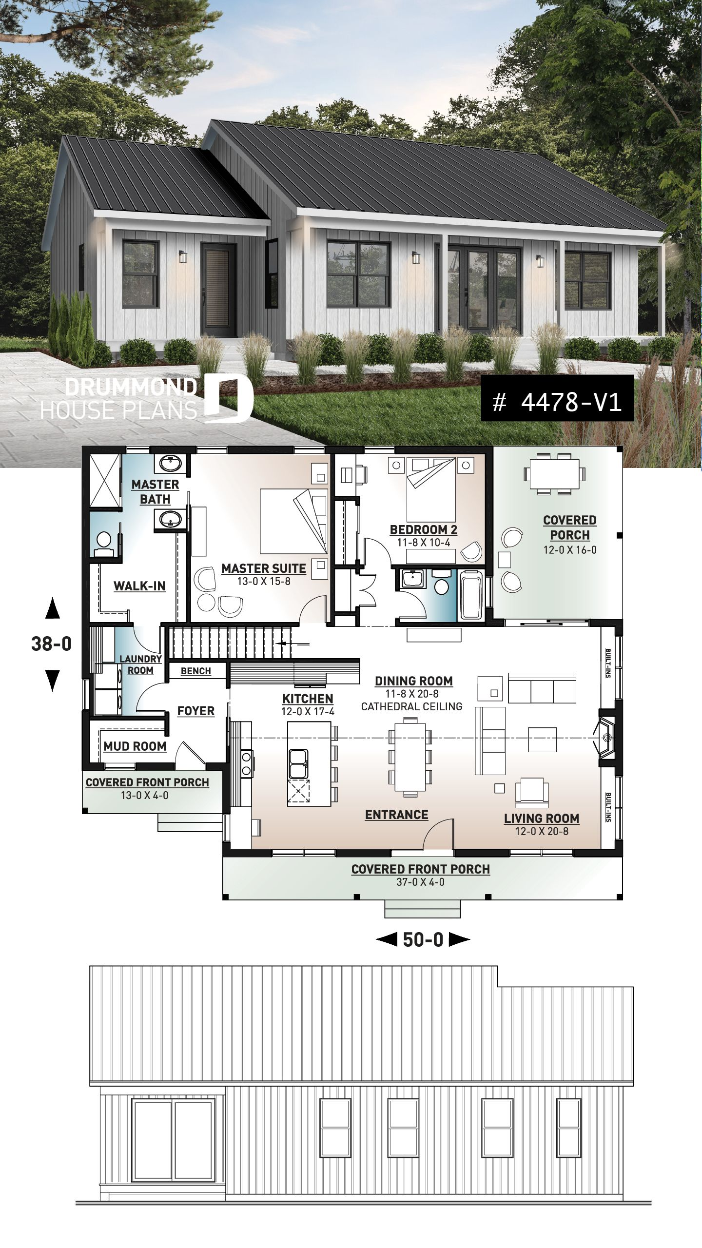 Discover The Plan 4478 V1 Beauford 2 Which Will Please You For Its 2 Bedrooms And For Its Ranch Styles House Plans Farmhouse Drummond House Plans Dream House Plans