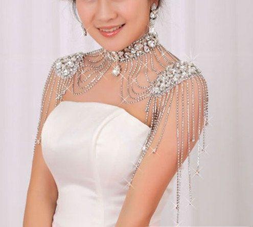 Bridal Back Necklace Bridal Shoulder Necklace Blush Shoulder Necklace Bridal Shoulder Jewelry Shoulder Epaulettes Blush Jewellery