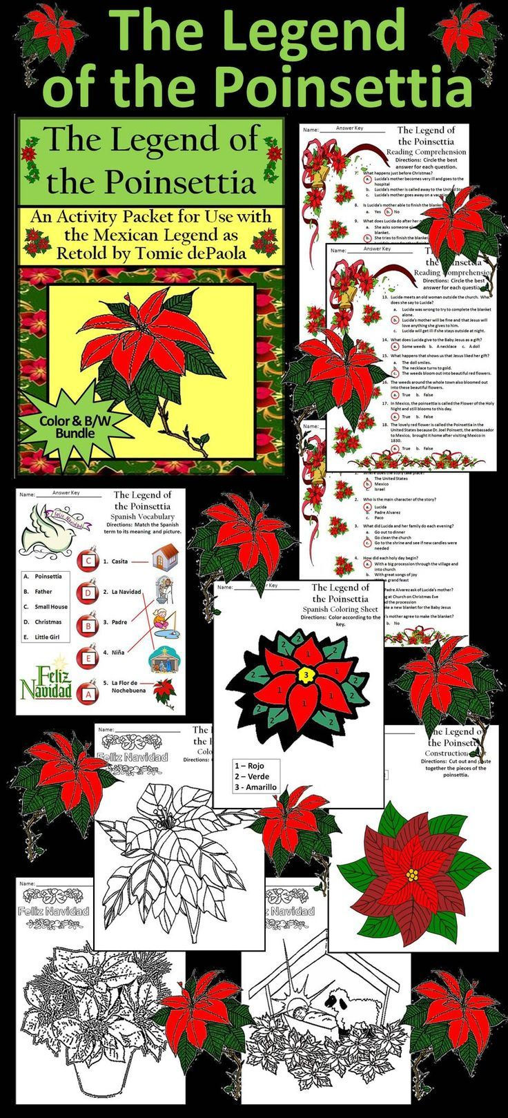 Christmas Activities The Legend Of The Poinsettia Activity Bundle