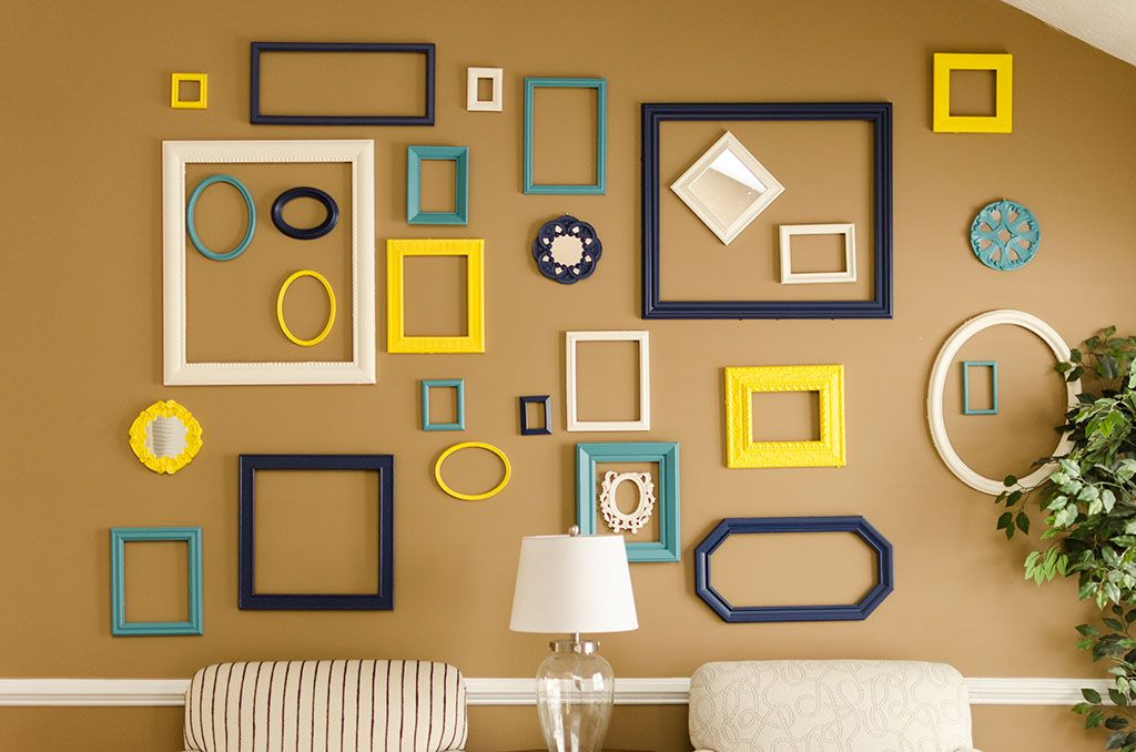 Colorful Frame Wall Diy The Frame Wall Turned Out Great Frames From Goodwill Painted And Arranged On A Wal Frames On Wall Colorful Frames Photo Frame Wall
