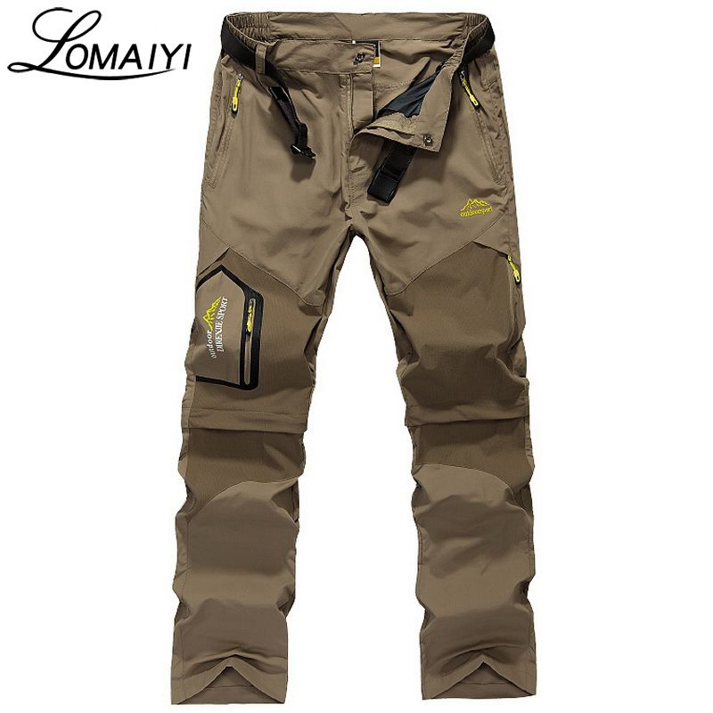 LOMAIYI nd Removable Men Cargo Pants With Zipper Pockets Army ...