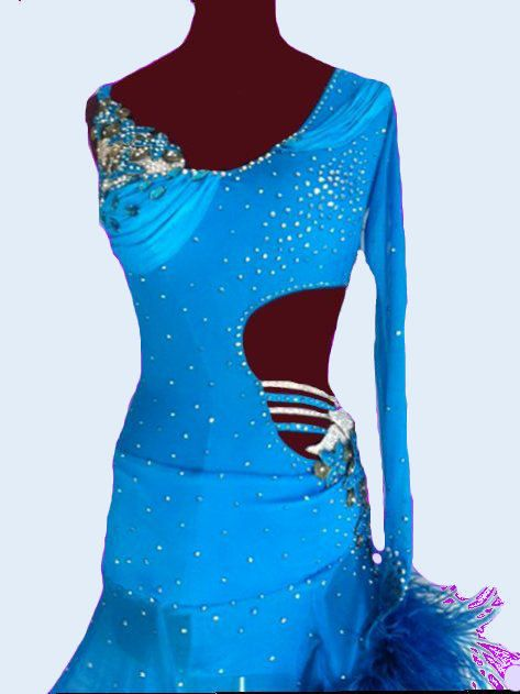 Blue Dance Dress with feathers Latin Dance Dresses