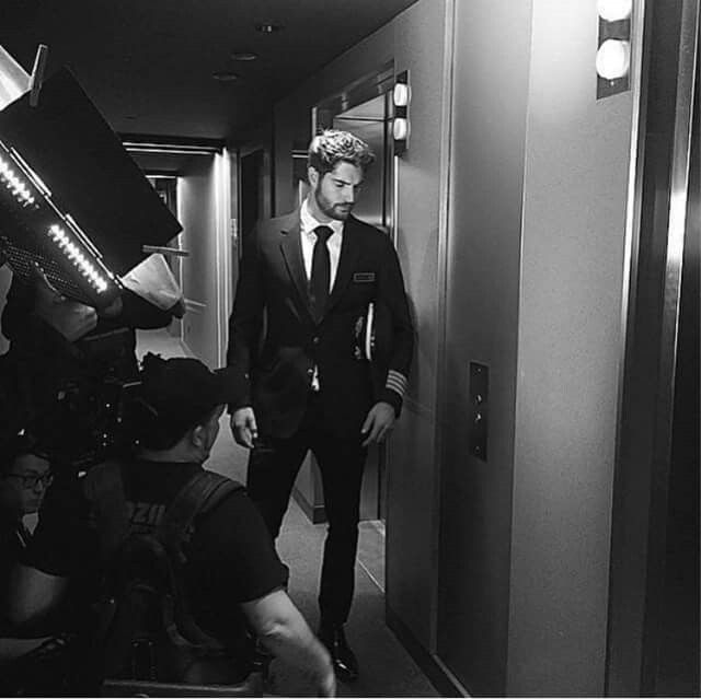 Behind the scenes with #NickBateman as #MilesArcher in the #UglyLove teaser trailer.