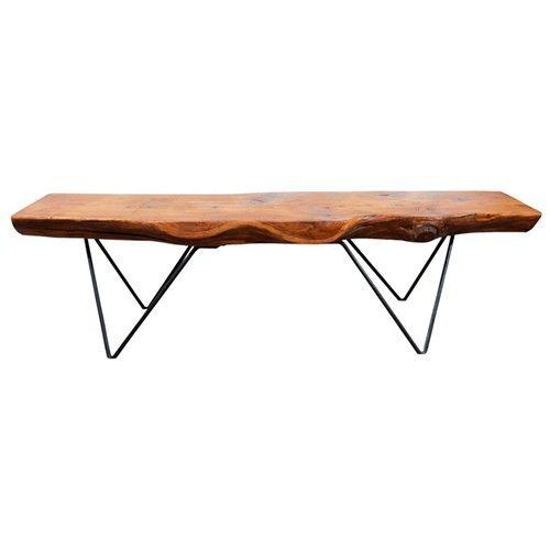 Mid Century Plank Wood and Wrought Iron Table by Bill Hoisington