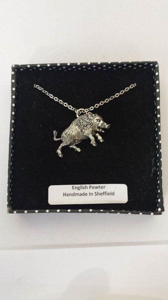 A68 Wildschwein 3 englische Zinn 3D Platin Halskette