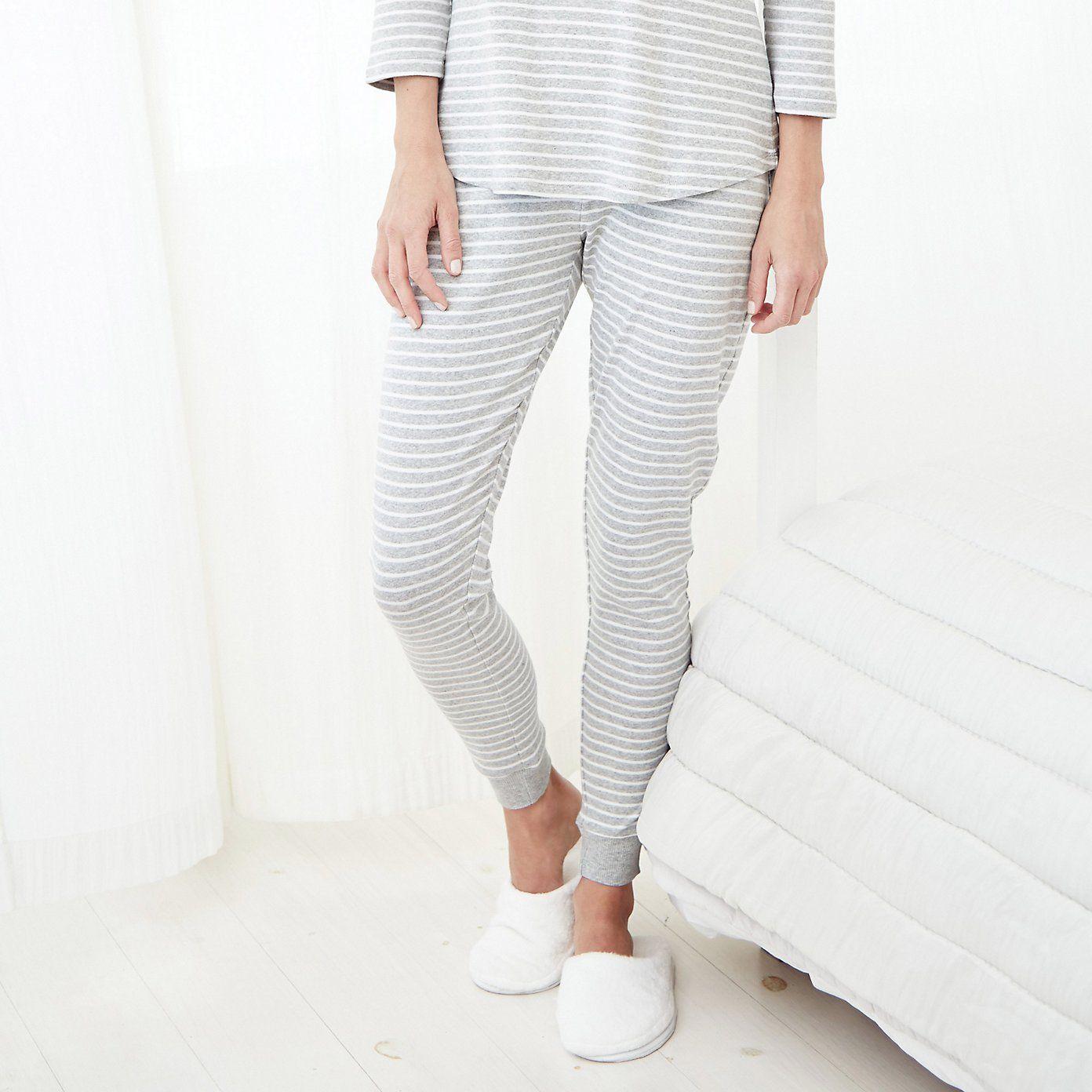 43e2efa83dfe Skinny Stripe Pyjama Bottoms - Silver Grey marl