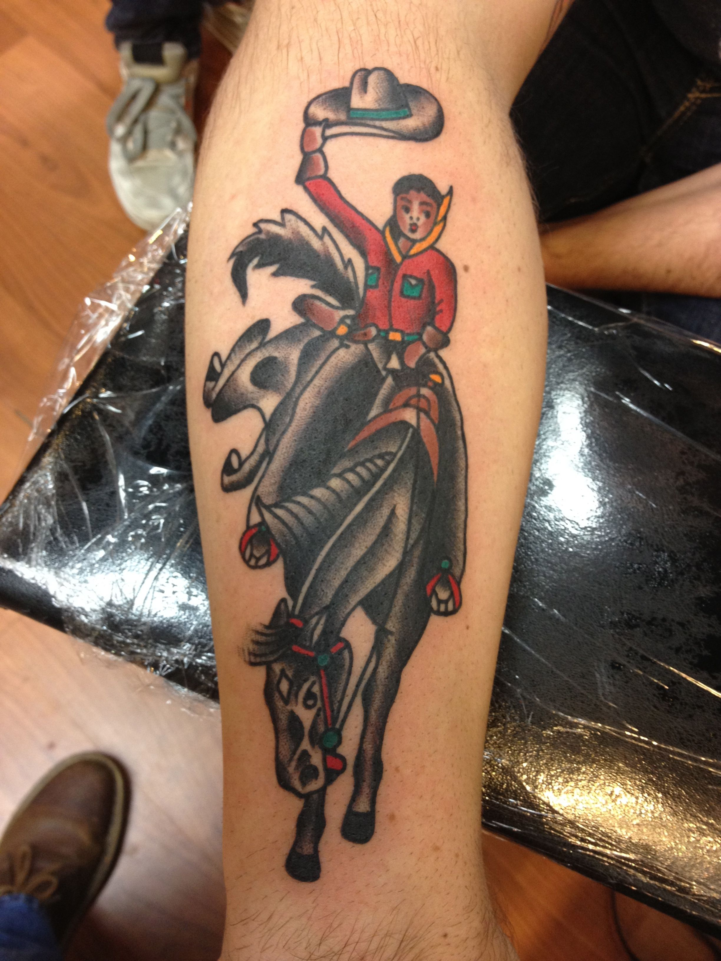 797f0299fe4fd Traditional Cowboy Tattoo | Tattoos by Krooked Ken | Cowboy tattoos ...