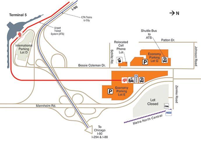 O Hare Parking Economy Lots Map O Hare International Airport Ohare Airport Airport Parking