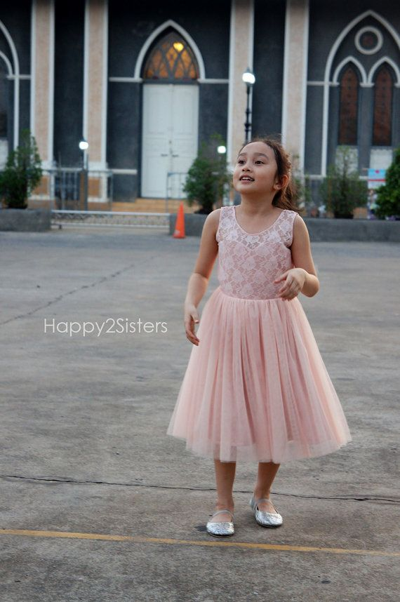 9033143c34cf9 Blush pink flower girl dress Lace and tulle flower girl dres Flower ...