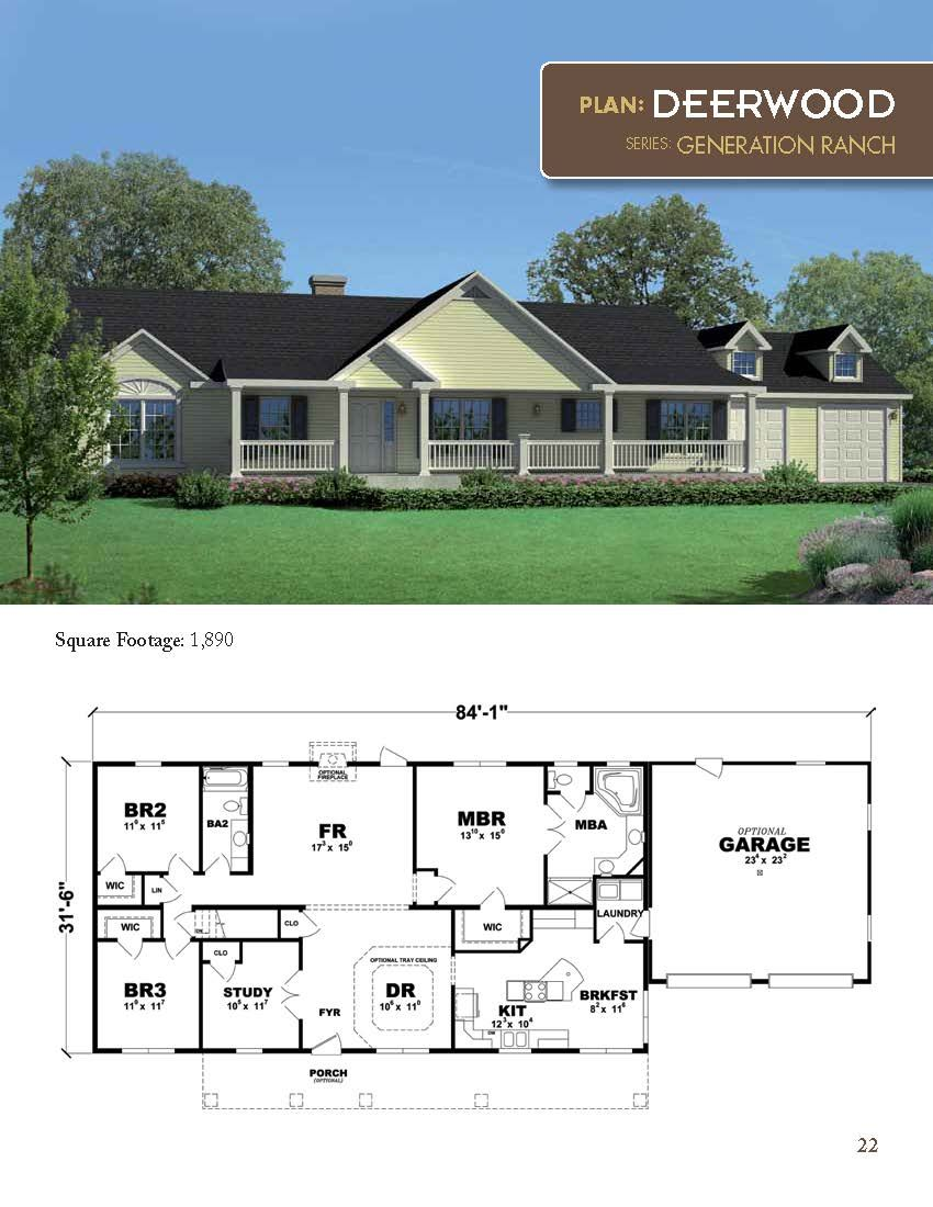 The Deerwood Ranch Style Home 1890 square feet 3 bedrooms