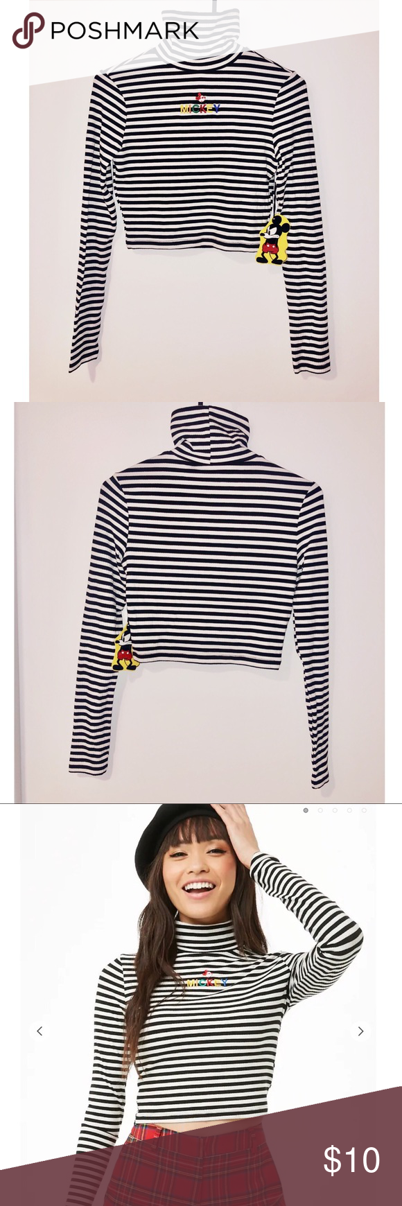 248ff6916cb NWT Mickey Mouse Striped Crop Top Turtle Neck From the special Forever 21 x  Disney collection