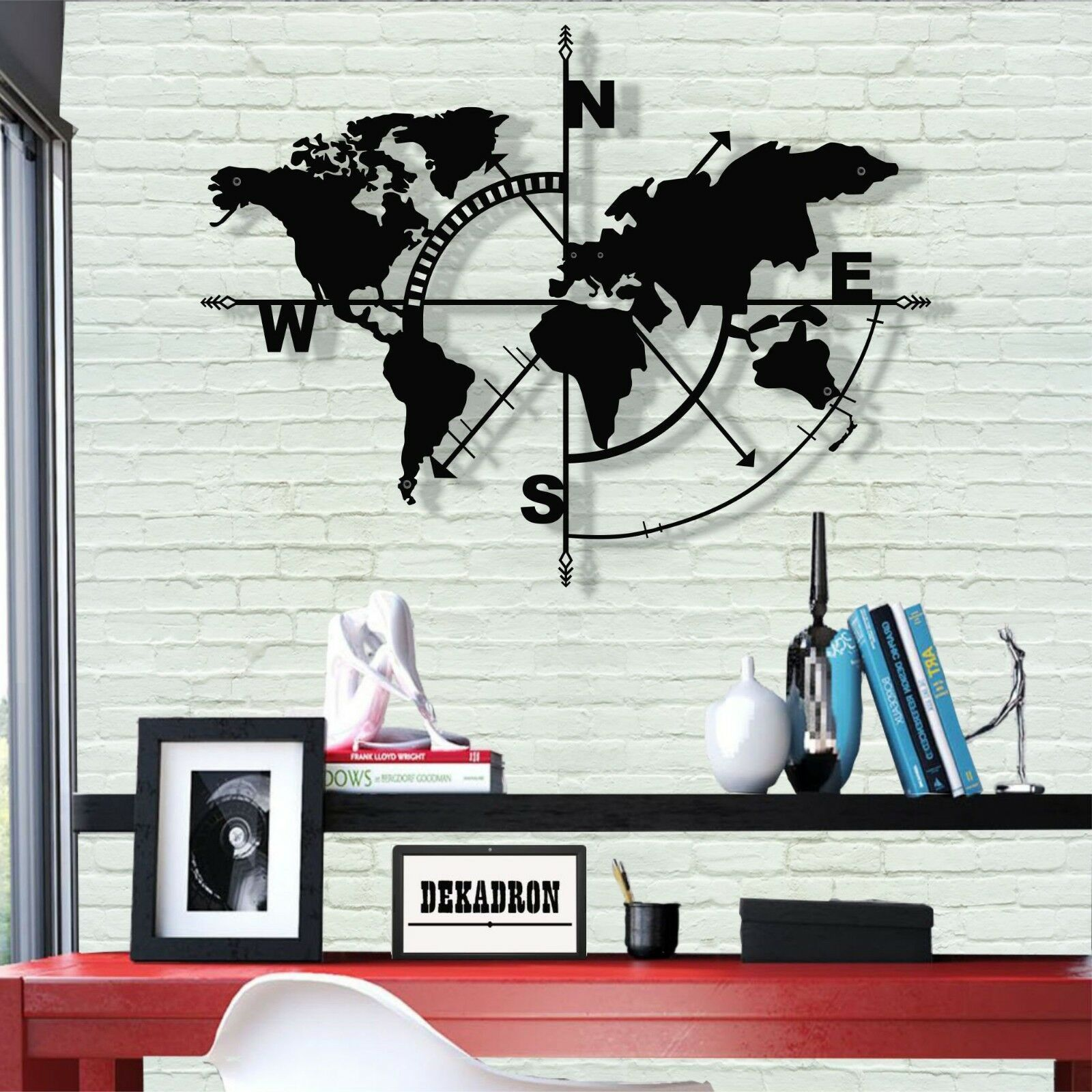 metal world map wall art works decor home office decoration sculpture white id compass wanddeko online kaufen loberon wanddekoration