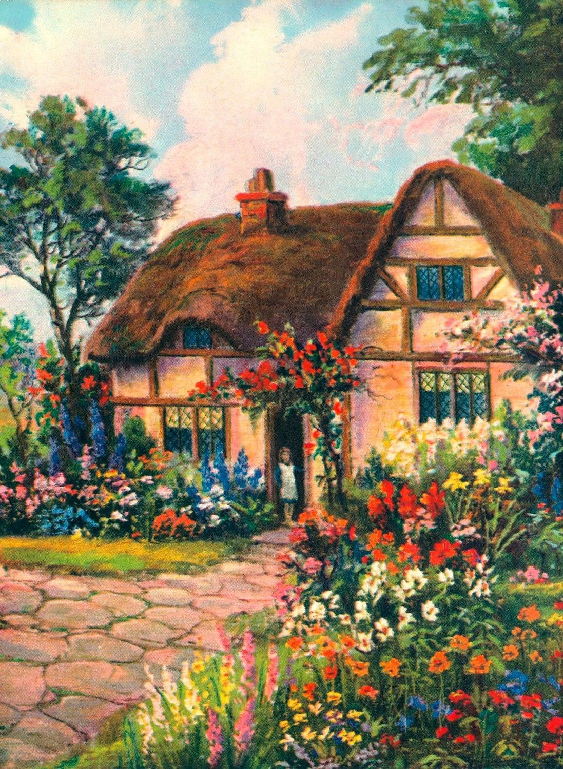 Vintage cottage vintage house illustrations pinterest for Classic house with flower garden