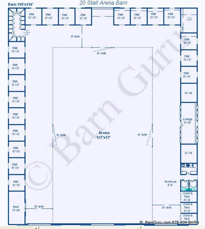 20 Stall Arena Horse Barn Design Plan... awesome idea to ...