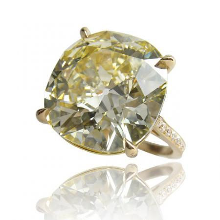 Dreaming big...Cushion-cut yellow diamond ring in an 18K gold setting from Paolo Costagli.