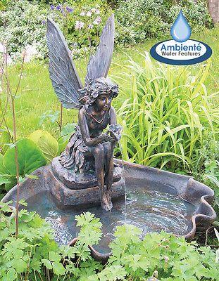 Solar Ed Fairy Clam Shell Water Feature Fountain Cascade With Lights Garden Ebay