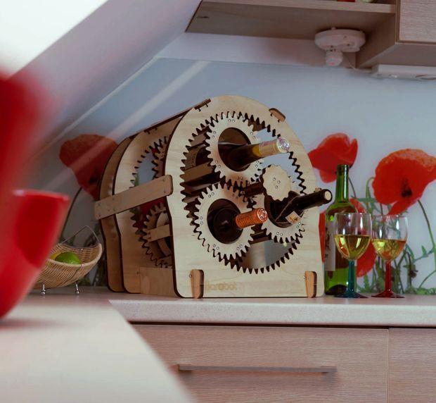 Laser Cut Planetary gear wine stand #decoration #organization #storage