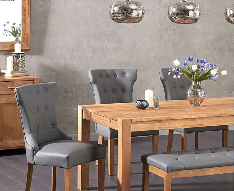 Verona 180cm Solid Oak Dining Table With Camille Grey Faux Leather