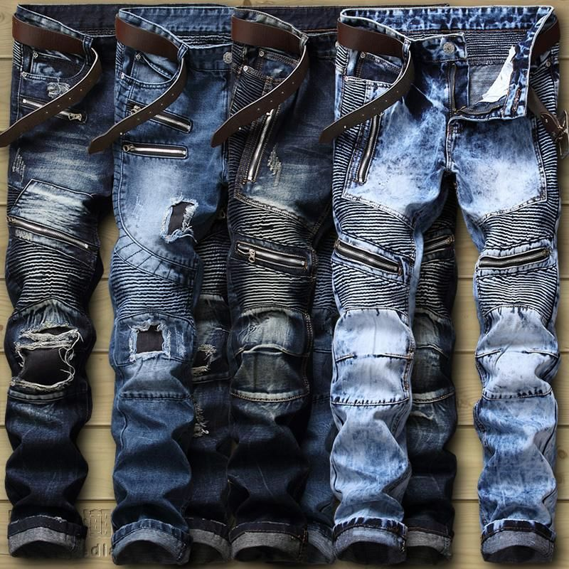 6b61ec107f9 Newsosoo new mens Strech ripped biker jeans skinny light blue Distressed  designer hip hop streetwear holes swag pants denim. Men s Ripped Slim Fit  ...