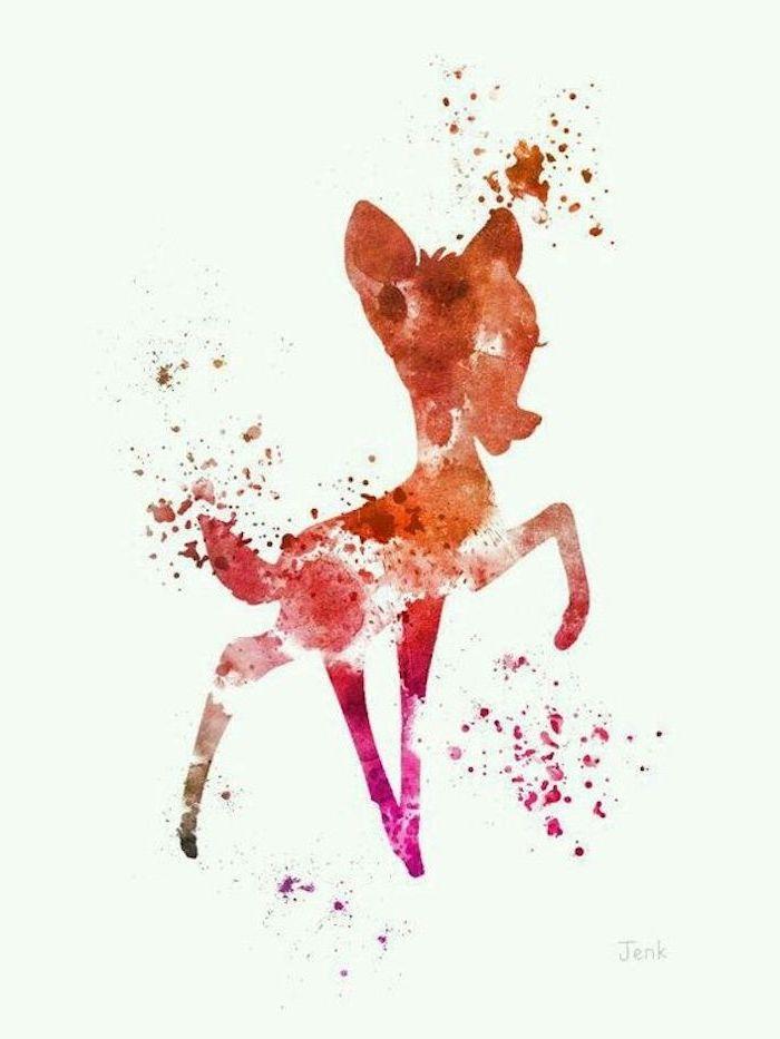 Bambi Silhouette zeichnen lernen, süßes Bild zum Nachmalen, Zeichnungen für Anfänger
